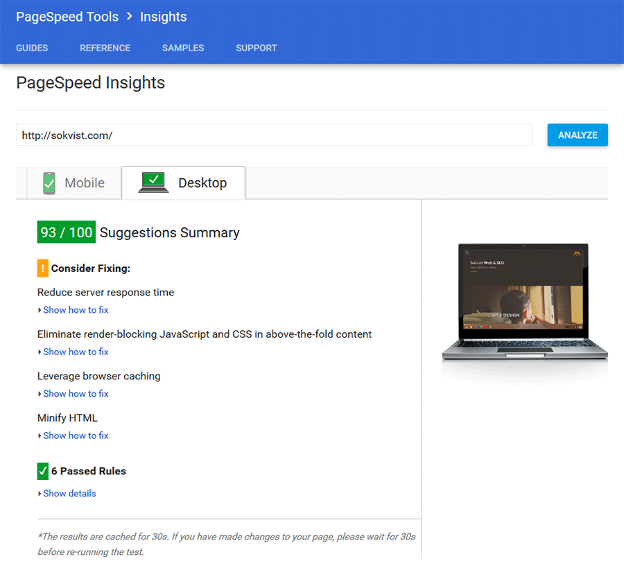 PageSpeed Insights -Sokvist